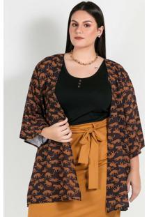 Kimono Plus Size Estampado Oncinhas