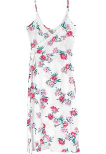 Vestido Branco Mídi Floral Em Viscose