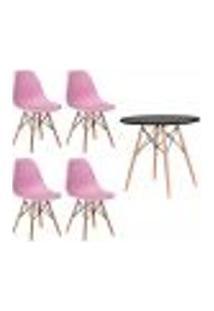 Conjunto 4 Cadeiras Eiffel Eames Rosa Claro + 1 Mesa Eames 80Cm Preta Base Madeira Sala Cozinha