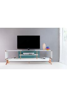 Rack Tv Retrô Vintage Branco/Azul Prestage 2 Nichos 1,8M Mdf Com Pés Madeira Cor Jatobá - 180X40X55 Cm