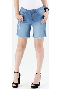 Bermuda Feminina Jeans Botões Destroyed Marisa