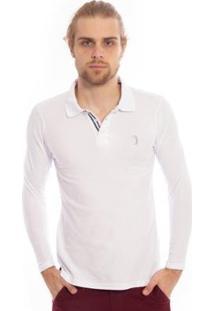Camisa Polo Aleatory Piquet Lisa Manga Longa Masculina - Masculino-Branco
