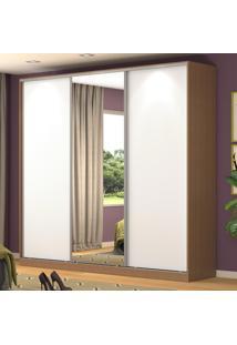 Guarda-Roupa Casal 3 Portas Correr 1 Espelho 100% Mdf Rc3001 Ocre/Branco - Nova Mobile