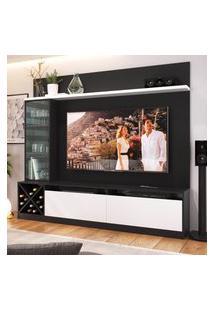 """Painel Home Para Tv 60"""" Com 3 Portas Preto E Branco Lilies Móveis"""