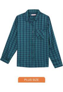 Camisa Verde Feminina Xadrez Flanelada
