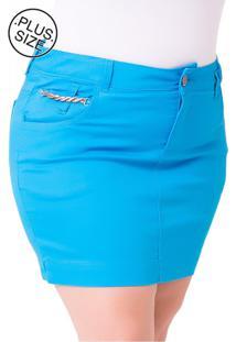 Saia Curta Plus Size - Confidencial Extra Jeans Jet Color - Tricae