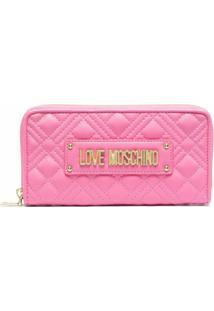 Love Moschino Carteira Matelassê Com Placa De Logo - Rosa