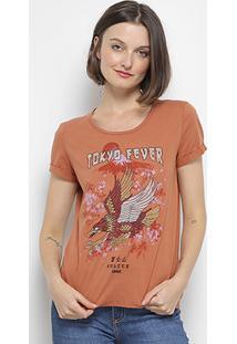 Camiseta Colcci Estampada Bordada Feminina - Feminino-Marrom