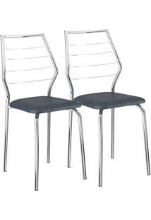 Cadeira 1716 02 Unidades Jeans/Cromada Carraro