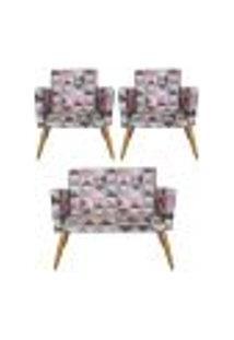 Conjunto Namoradeira Decorativa E 2 Poltronas Triângulo Rosa - Bela Casa Shop