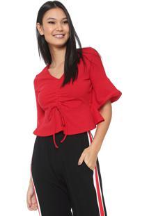 Blusa Cropped Fiveblu Babados Vermelha
