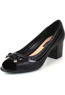 Sapato Peep Toe Emporionaka Feminino Macio Laço Conforto Preto