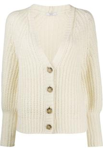 Peserico Ribbed V-Neck Cardigan - Branco