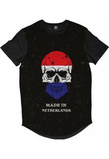 Camiseta Longline Bsc Caveira País Holanda Sublimada Preto
