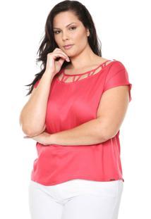 Blusa Cativa Plus Detalhe Rosa