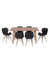 Conjunto Mesa De Jantar Em Madeira 150X80 Vértice + 6 Cadeiras Slim - Preto