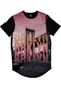 Camiseta Longline Bsc New York Brooklyn Sublimada Masculina - Masculino-Preto