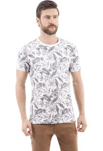 Camiseta Estampada Floral Drazzo Chapada Branco