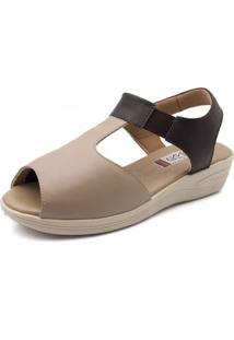 Sandália Anabela Doctor Shoes 197 Bege/Café