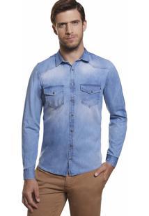 Camisa Slim Zaiko Jeans Masculino Manga Longa 2015 Azul