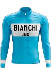 Camisa Uv Scape Bianchi Campagnolo Retro Manga Longa Azul