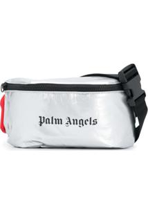 Palm Angels Pochete Metalizada Com Logo - Cinza