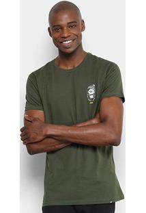 Camiseta Hd Slim Zombie Masculina - Masculino-Verde Militar