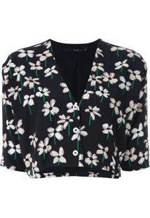 Eva Blusa Cropped Estampa Floral - Preto
