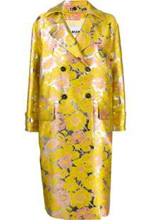 Msgm Casaco Jacquard Floral Com Abotoamento Duplo - Amarelo