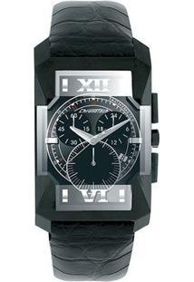 Relógio De Pulso Chronotech Diagonal - Aço Preto - Feminino-Prata+Chumbo