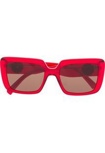 Versace Eyewear Óculos De Sol Translúcido Vermelho