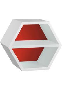 Nicho Com Prateleira Favo 1151 Branco/Vermelho - Maxima