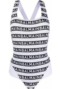 Balmain Maiô Com Estampa De Logo - Branco