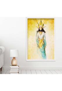 Quadro Love Decor Com Moldura Golden Woman Branco Médio
