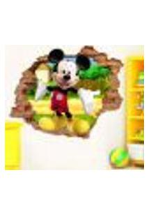 Adesivo De Parede Buraco Falso 3D Mickey Mouse - Eg 100X122Cm