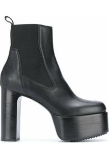 Rick Owens Ankle Boot Plataforma - Preto