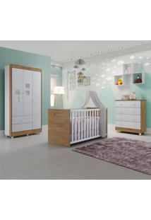 Quarto De Bebê Completo Com Guarda Roupa 3 Portas Cômoda E Berço Life Siena Móveis Branco/Naturale
