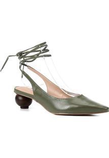 Scarpin Couro Shoestock Slingback Bico Fino Salto Baixo Redondo Feminino - Feminino-Verde