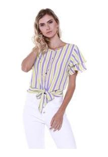 Blusa Studio 21 Fashion Stripe Babados - Feminino-Lilás+Amarelo