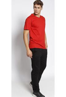 Camiseta Lisa Manga Curta- Vermelhaclub Polo Collection