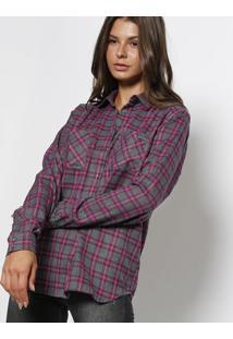 ... Camisa Em Flanela Xadrez - Cinza   Roxa - Colccicolcci 4df8656bcf72f