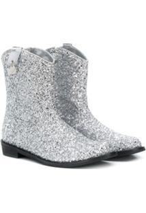 Monnalisa Ankle Boot Cowboy - Prateado