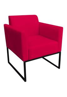 Poltrona Decorativa Base Industrial Preto Maressa S16 Suede Vermelho -