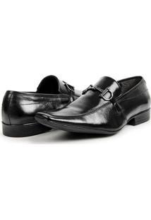 Sapato Social Masculino Em Couro Bico Fino Estilo Italiano Bigioni - Masculino-Preto
