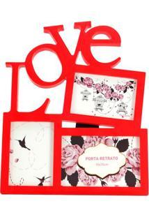 Painel Le Love Com 3 Fotos Vermelho