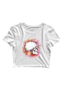 Blusa Blusinha Cropped Tshirt Camiseta Feminina Caveira De Lado E Flores Branco