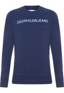 Blusa Masculina Moletom Logo - Azul