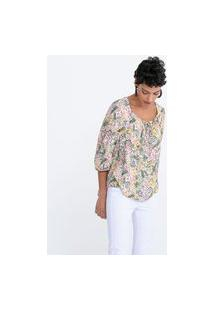 Blusa Bata Floral Com Manga Bufante E Amarração | Marfinno | Branco | Pp