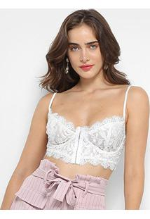 Top Cropped Open Renda Feminino - Feminino-Off White