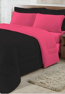 Edredom Solteiro Casa Modelo Dupla Face Malha 100% Algodão 1 Peça - Preto/Pink
